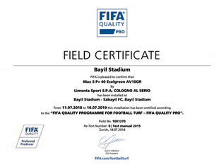FIFA certificate for artificial turf of Bayil Stadium
